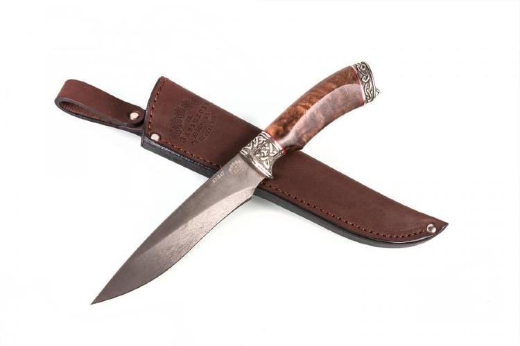 Нож АКУЛА, БУЛАТ, стабилизированное дерево