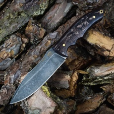 Цельнометаллический нож ЯЩЕР, булат, карельская береза