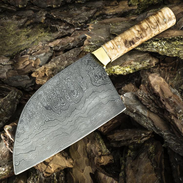 СЕРБСКИЙ ШЕФ, дамасская сталь, стабилизированное дерево