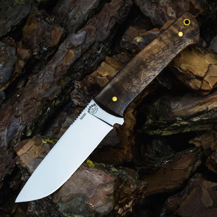 Цельнометаллический нож БРИГАДИР, N690, корень ореха