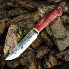 Нож ЛАДЬЯ-2, ручная ковка 9ХС, карельская берёза