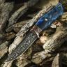 Подарочный нож ЛАДЬЯ, авторский мозаичный дамаск, карельская берёза