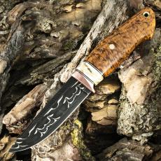 Подарочный нож ЛАДЬЯ, авторский мозаичный дамаск, карельская берёза, янтарный цвет