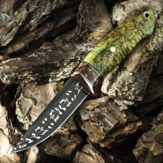 Подарочный нож ЛАДЬЯ, авторский мозаичный дамаск, карельская берёза, зелёный цвет