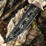 Подарочный нож ЛАДЬЯ, авторский мозаичный дамаск, карельская берёза, цвет хаки