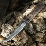 Нож ЯКУТ БОЛЬШОЙ, дамасская сталь, карельская берёза, коричневый цвет